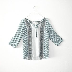 Old Navy Sheer Peasant Style Tie front Blouse XS